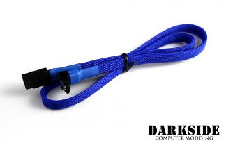 "60cm (24"") SATA 2.0/3.0 Sleeved 7-pin 180° to 90° Data Cable - Blue UV"