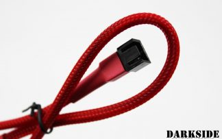 """3-Pin 40cm (16"""") M/F Fan Sleeved Cable - Red UV"""