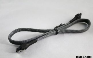"""45cm (18"""") SATA 2.0/3.0 7P 180° to 180° cable with latch - Gun Metal"""